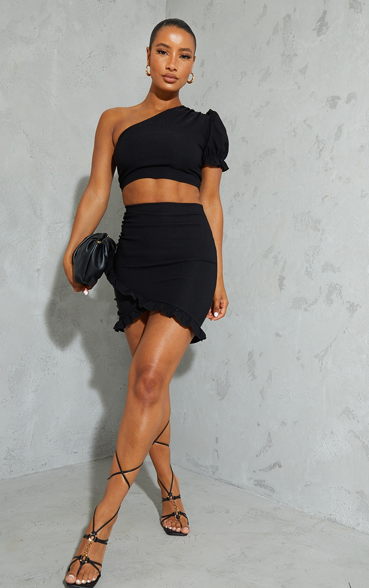 Black Woven Stretch One Shoulder Puff Sleeve Crop Top 3