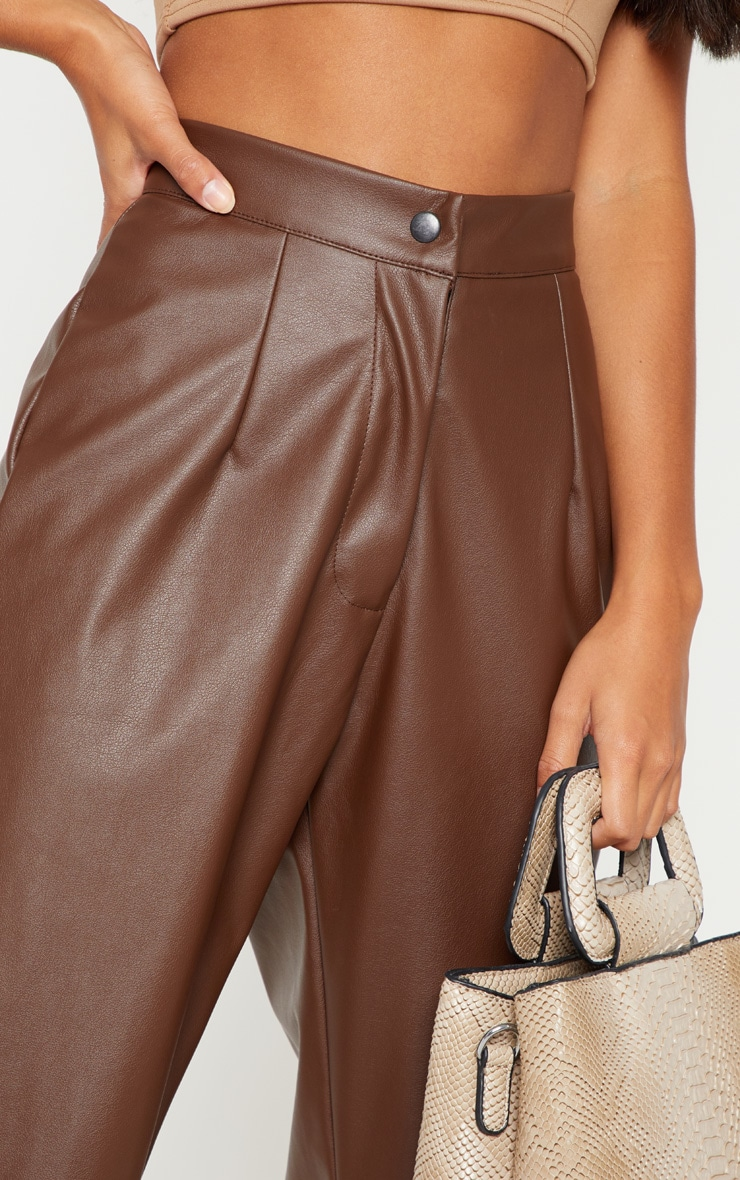 Petite Chocolate Faux Leather Slim Leg Trousers 5