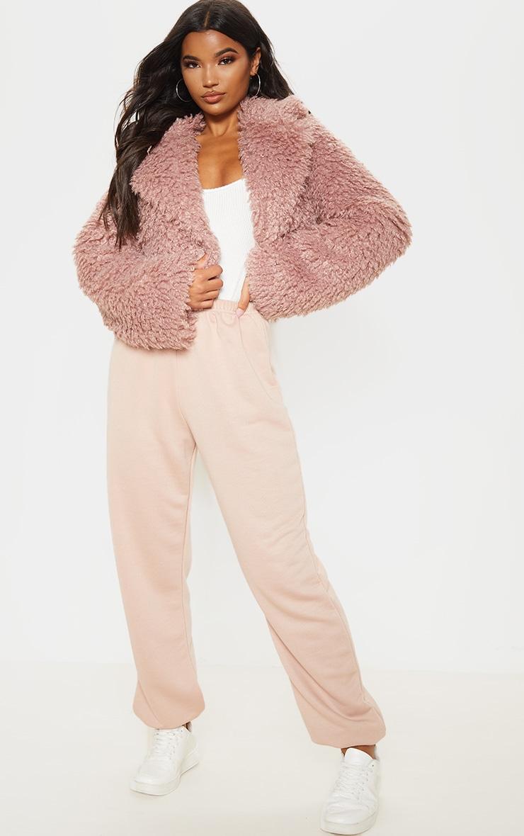 Rose Cropped Teddy Faux Fur Coat  4