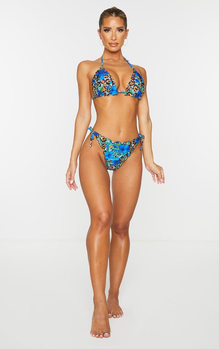 Blue Floral Animal Frill Edge Padded Bikini Top 3