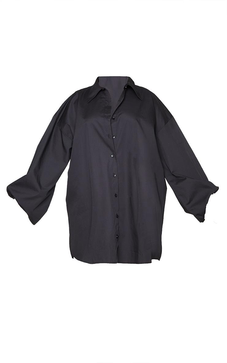 PLT Plus - Robe chemise noire à manches ballon 5