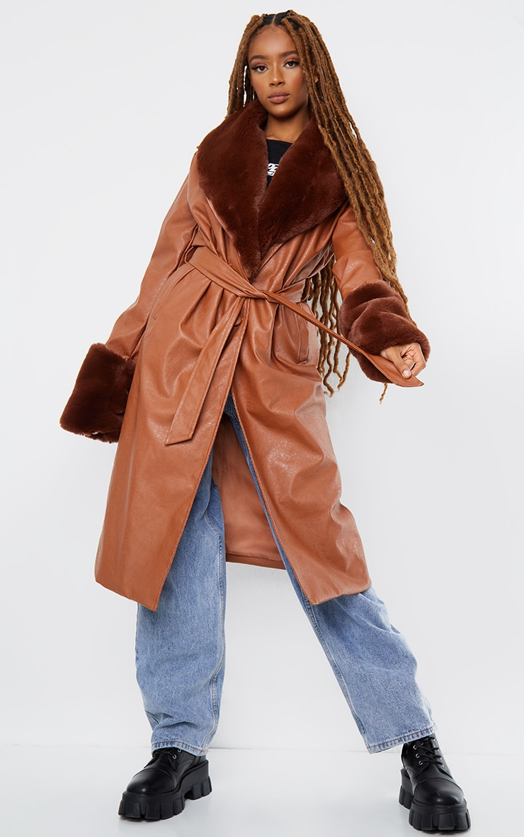 TAN PU DETACHABLE FAUX FUR MIDI TRENCH