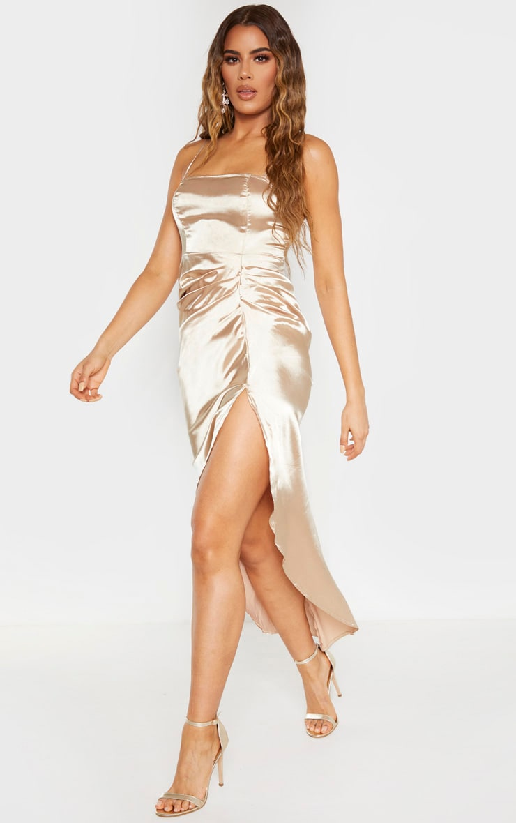 Tall Champagne Ruched Side High Split Satin Midi Dress  3
