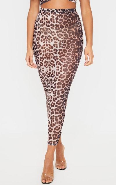 Brown Leopard Print Mesh Midaxi Skirt