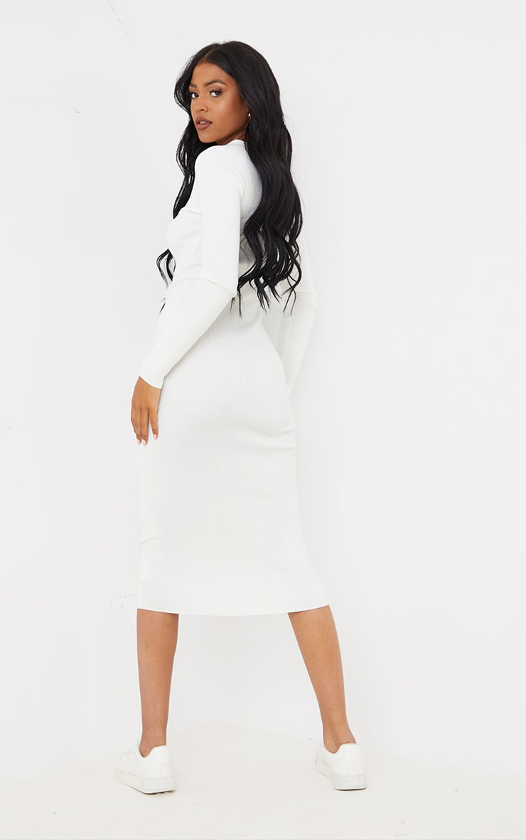 Tall Cream Button Down Collared Knitted Midi Dress 2