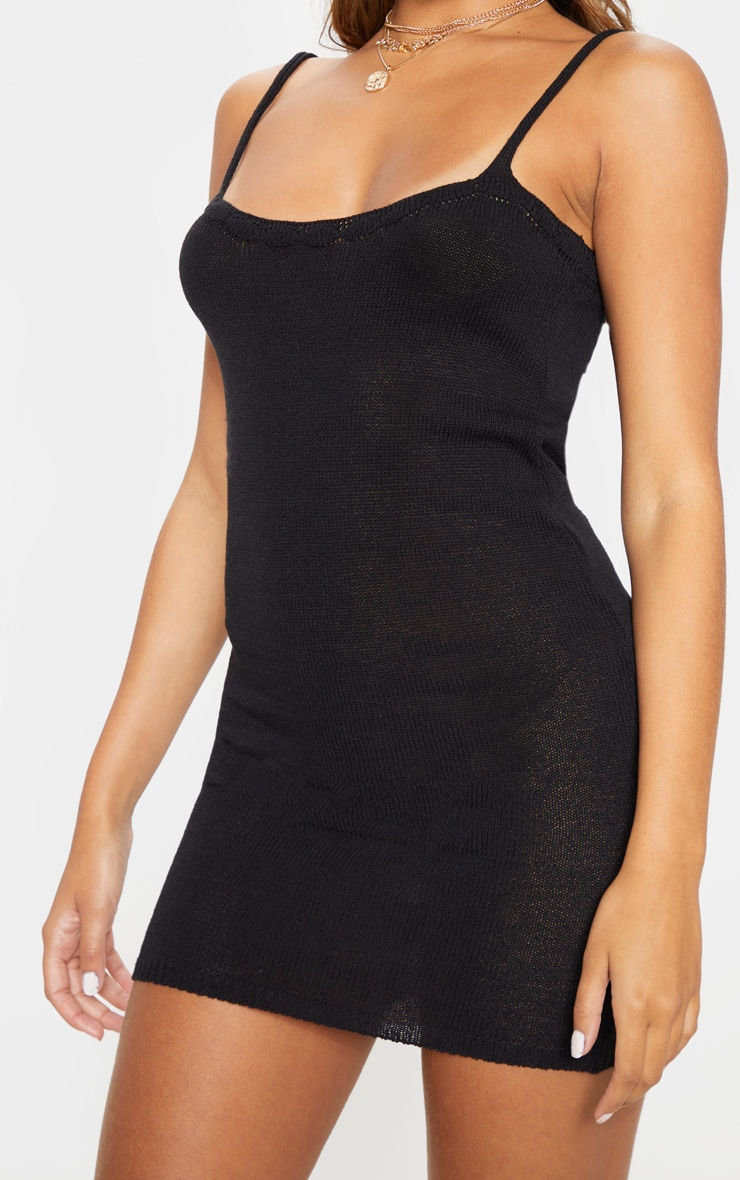 Black Knitted Strappy Dress 5