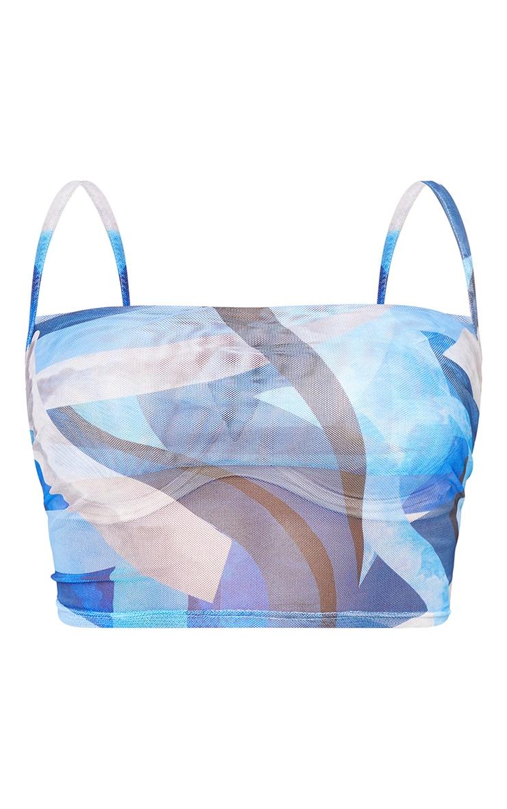 Plus Blue Marble Print Mesh Cowl Neck Cami 5