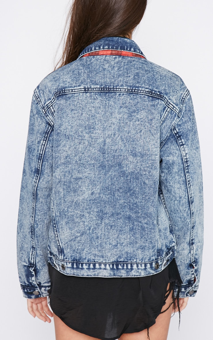 Kasa Acid Wash Check Lined Denim Jacket 2
