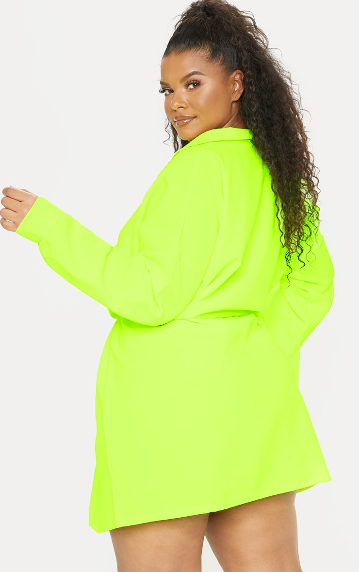 Plus Neon Lime Toggle Waist Shift Dress 2