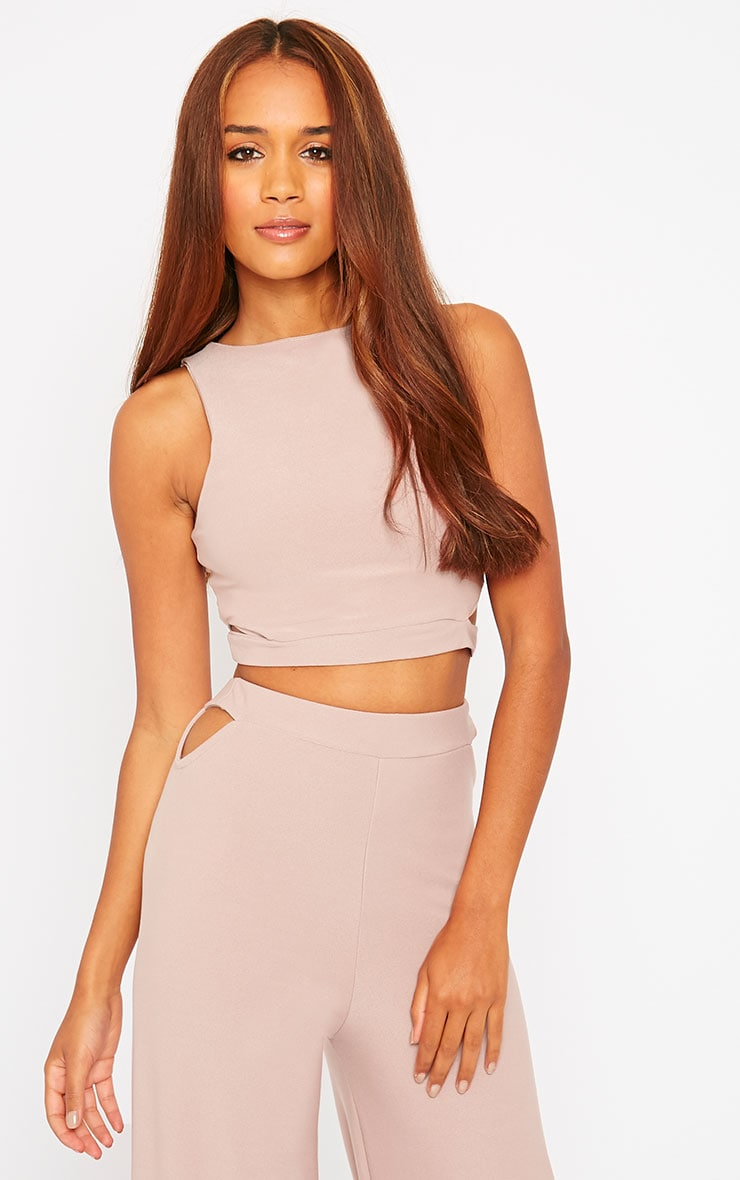 Elphina Dusty Pink Crepe Cut Out Crop Top 2