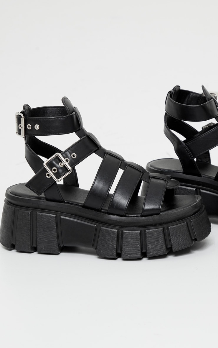 Black Chunky Sole Gladiator Sandals 3
