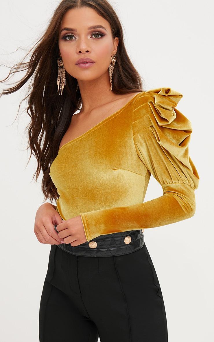 Mustard Velvet Puff One Shoulder Thong Bodysuit 2