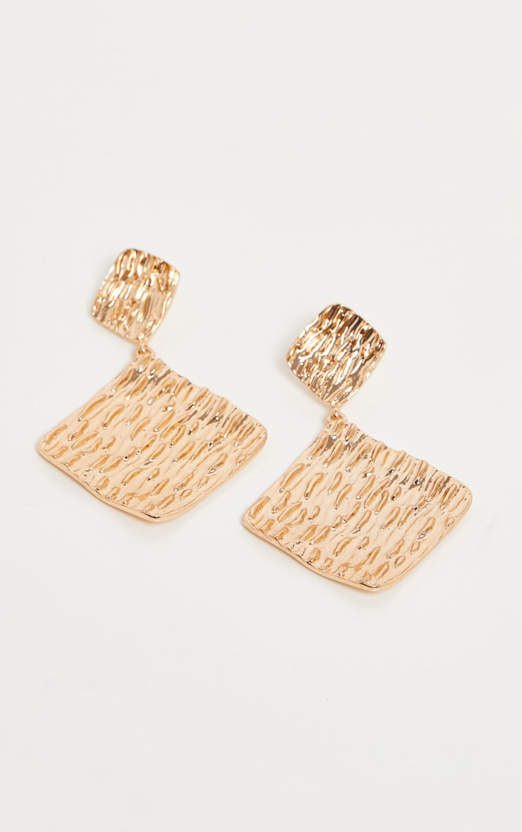 Gold Textured Diamond Shape Drop Earrings 2
