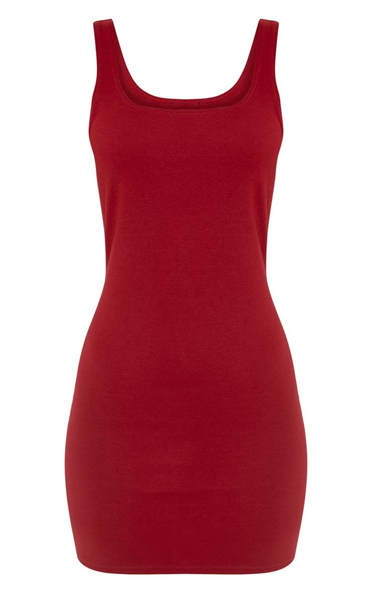 Carolin Burgundy Scoop Neck Bodycon Dress 3