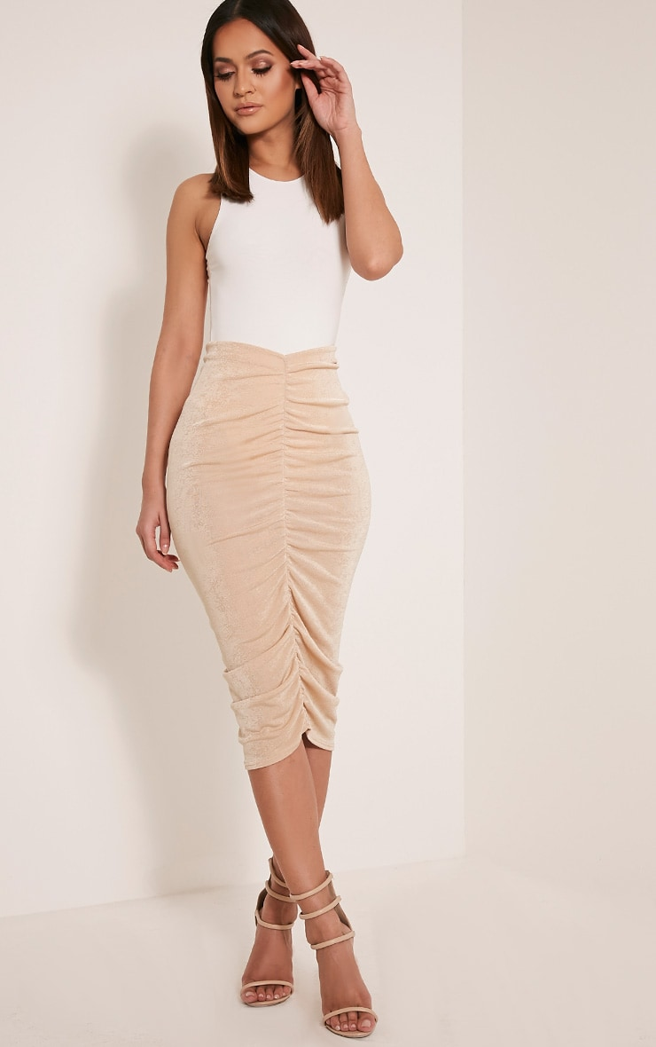 Remmie Stone Ruched Midi Skirt 1