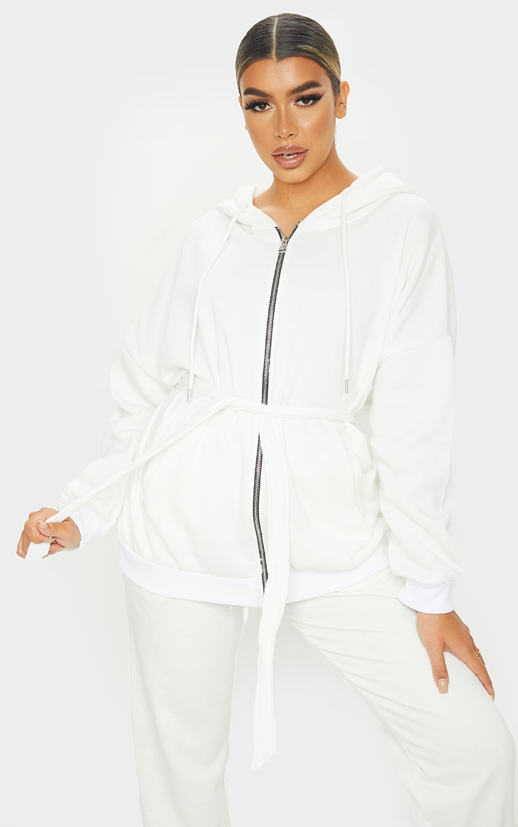 Cream Oversized Longline Zip Belted Hoodie Jacket 1