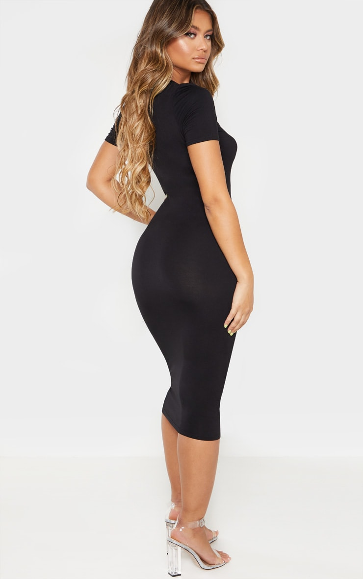 Black V Neck Midi Bodycon Dress 2