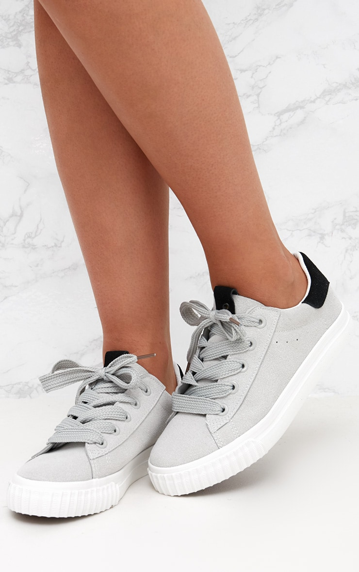 Grey Suedette Lace Up Trainer 2