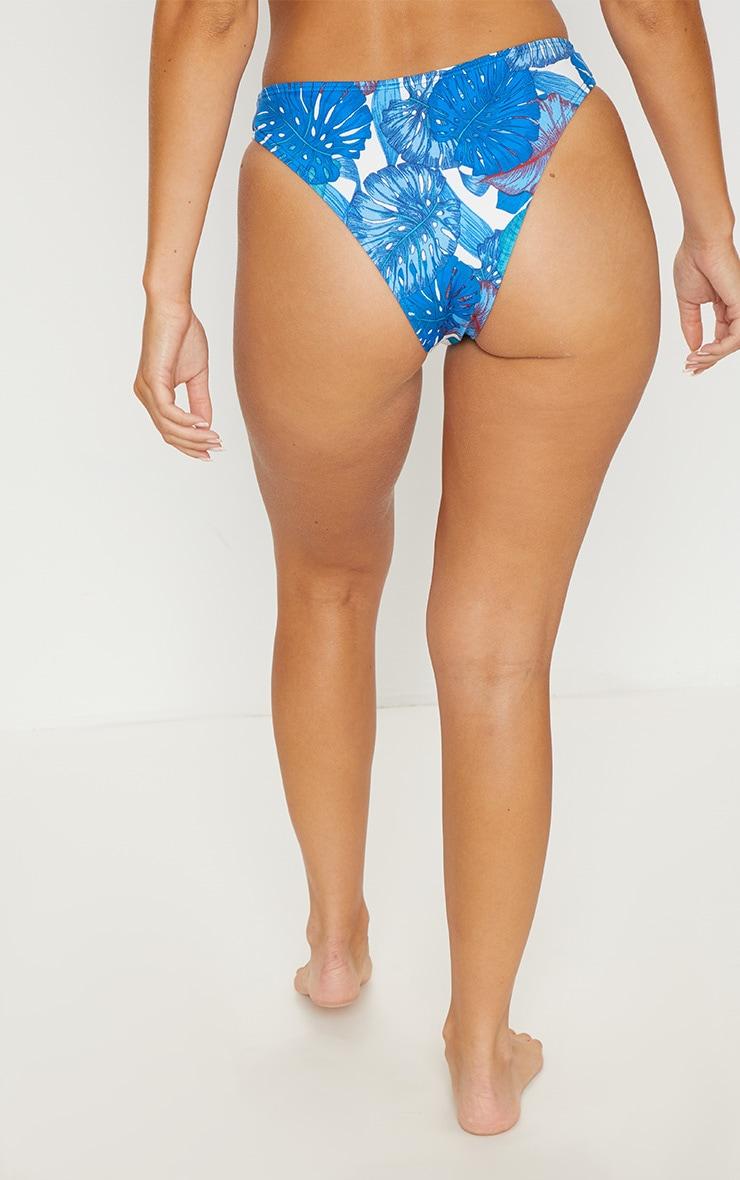 Blue Palm High Leg Bikini Bottom 4