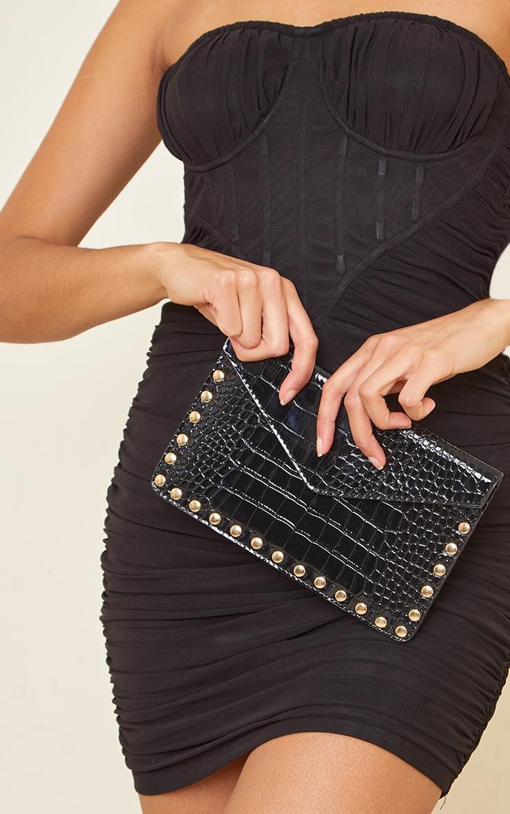 Black Patent Croc Gold Studded Envelope Clutch Bag 4
