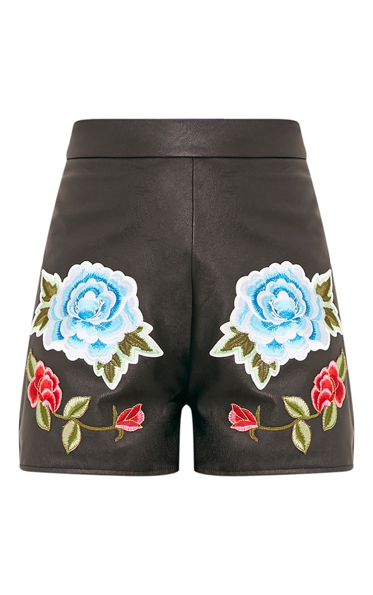 Mariam Black Faux Leather Rose Embroidery Shorts 3