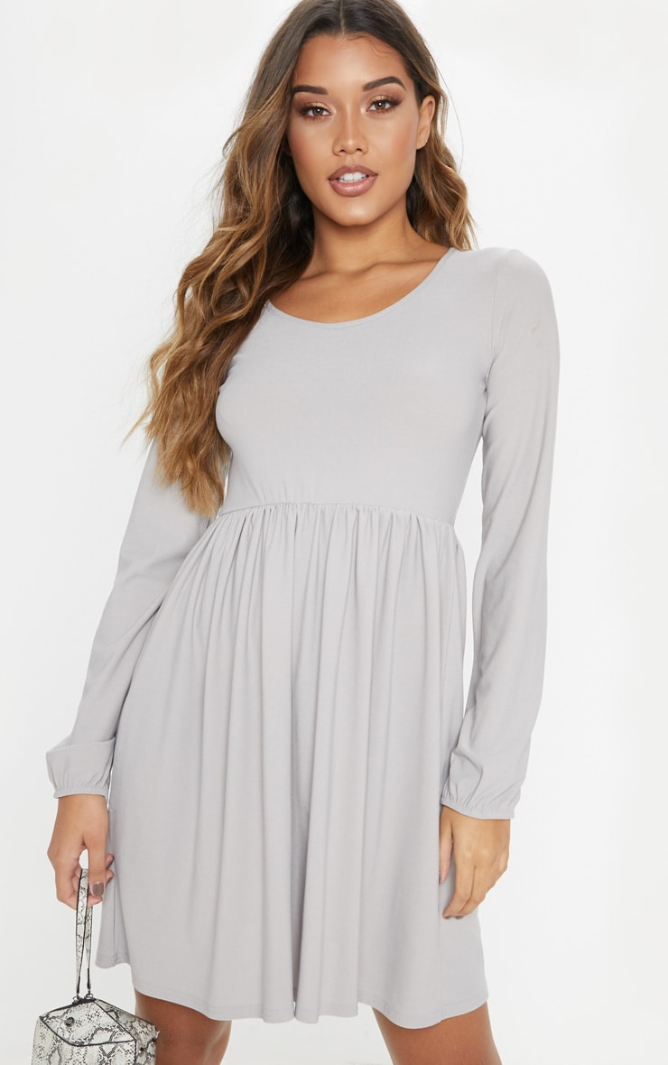 Grey Jersey Long Sleeve Scoop Neck Smock Dress