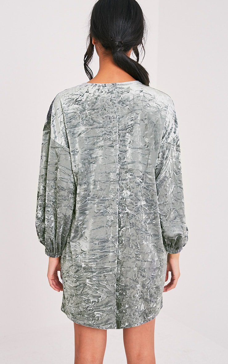 Reni Grey Crushed Velvet Oversized Shift Dress 2