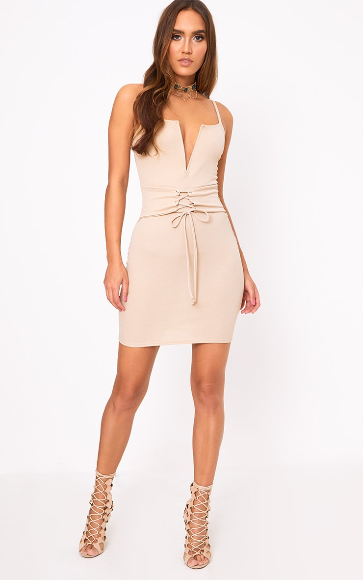 Nude Strappy V Plunge Corset Detail Bodycon Dress 4