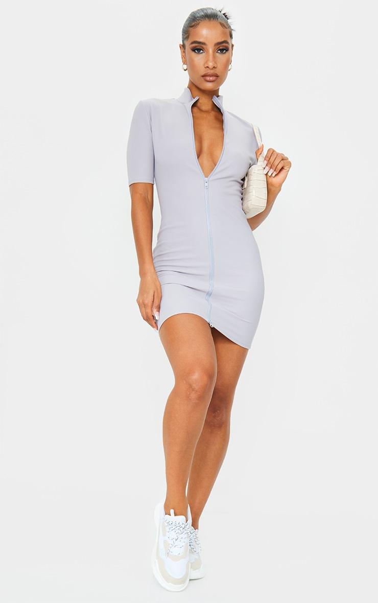 Grey Zip Front Rib Short Sleeve Bodycon Dress 3