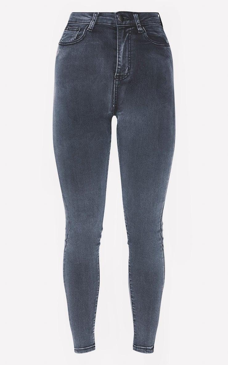 PRETTYLITTLETHING Washed Black 5 Pocket Skinny Jean 3
