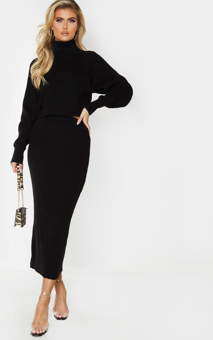 Tall Black Knitted Midi Skirt 1