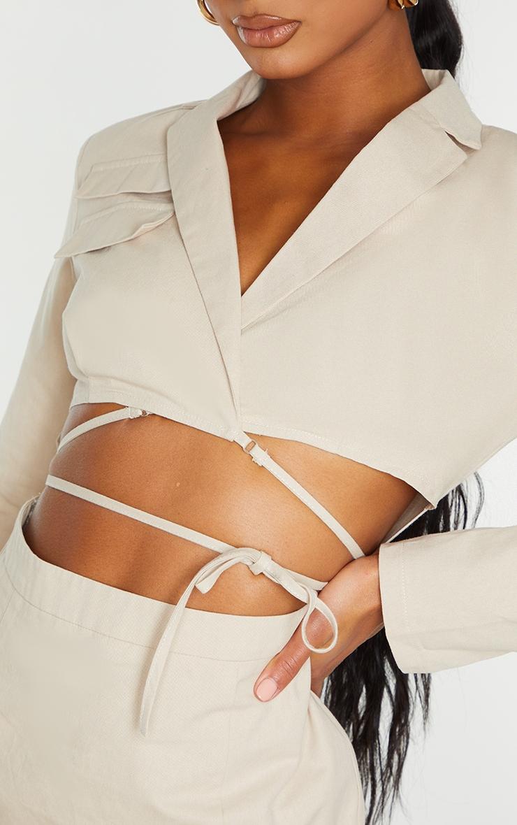 Stone Woven Cut Out Tie Waist Utility Style Blazer Bodycon Dress 6