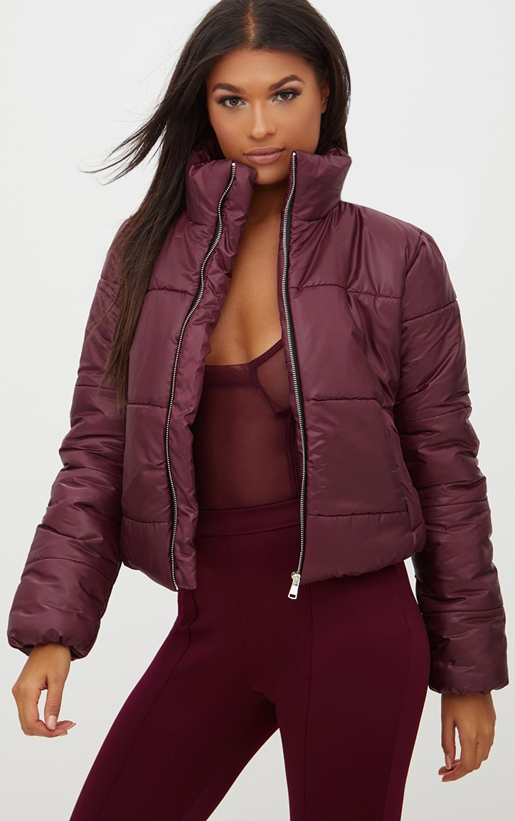 Burgundy High Shine Cropped Puffer Jacket 1