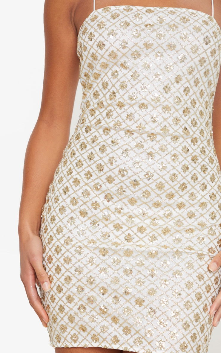 Gold Strappy Sequin Square Neck Bodycon Dress 4