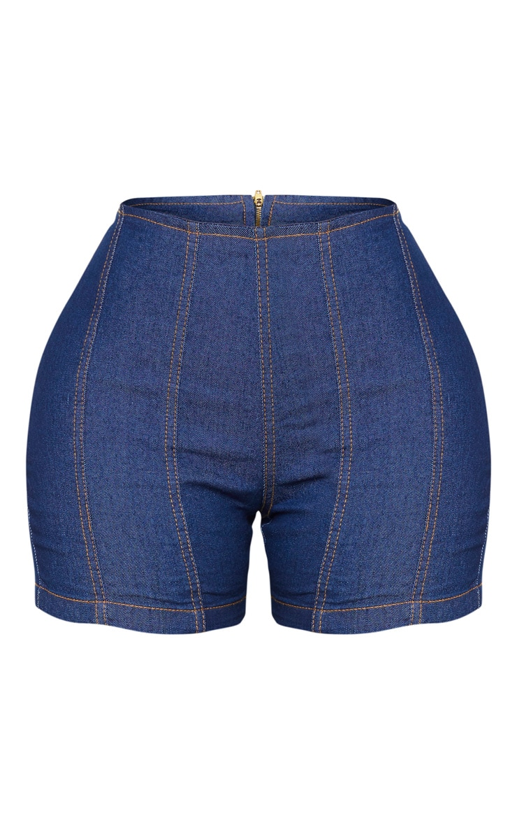 Shape Dark Wash Denim Contrast Stitch Fitted Shorts 6