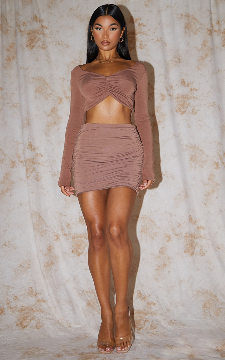 Recycled Chocolate Contour Jersey Ruched Front Crop Top 3