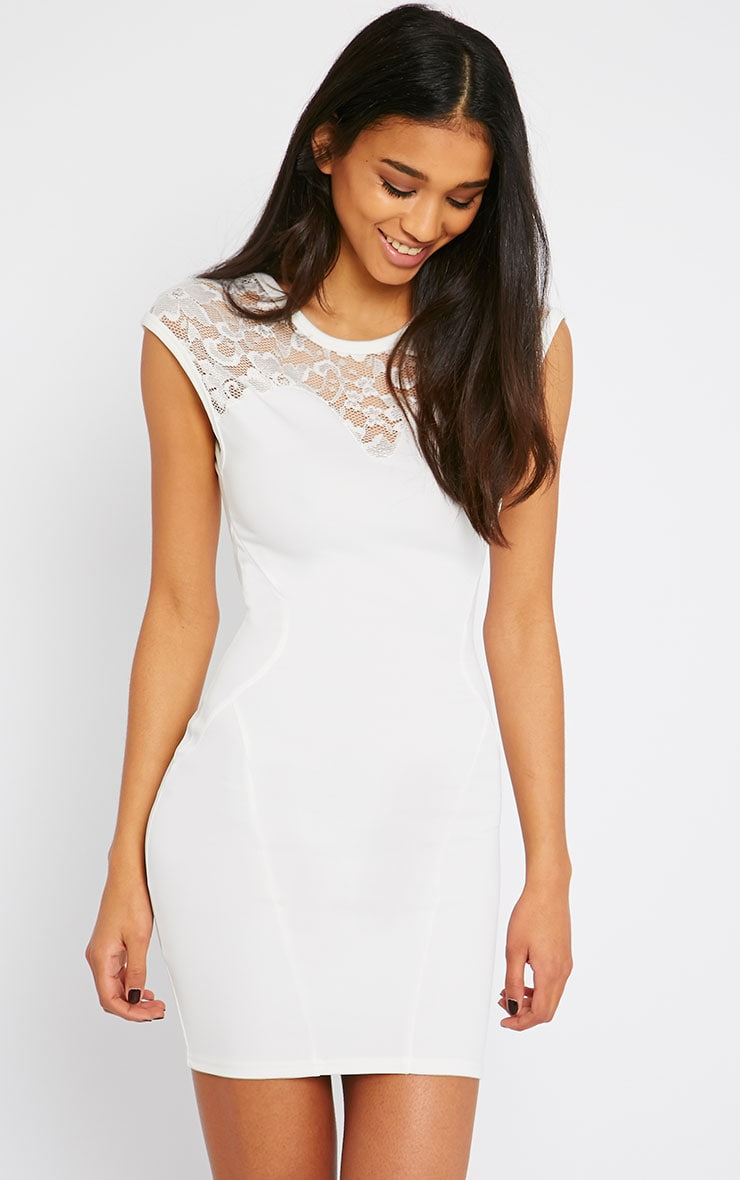Anabella Cream Lace Insert Mini Dress 4