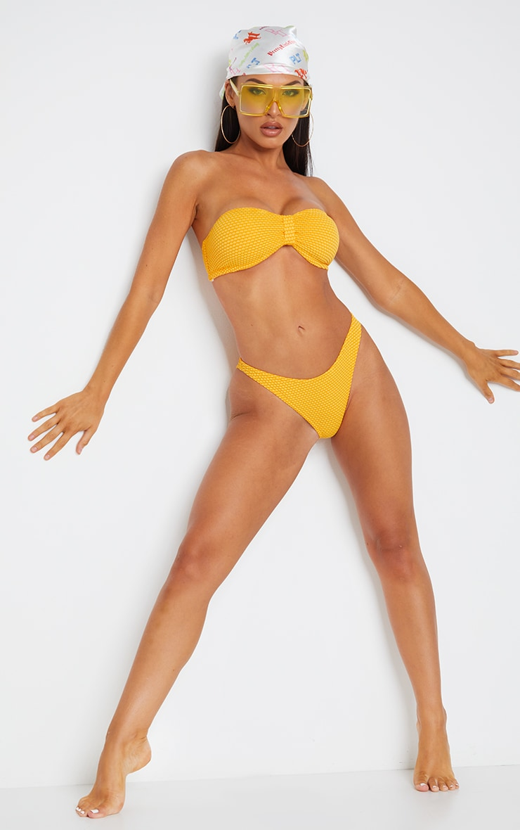 Yellow Textured High Leg Bikini Bottom 4