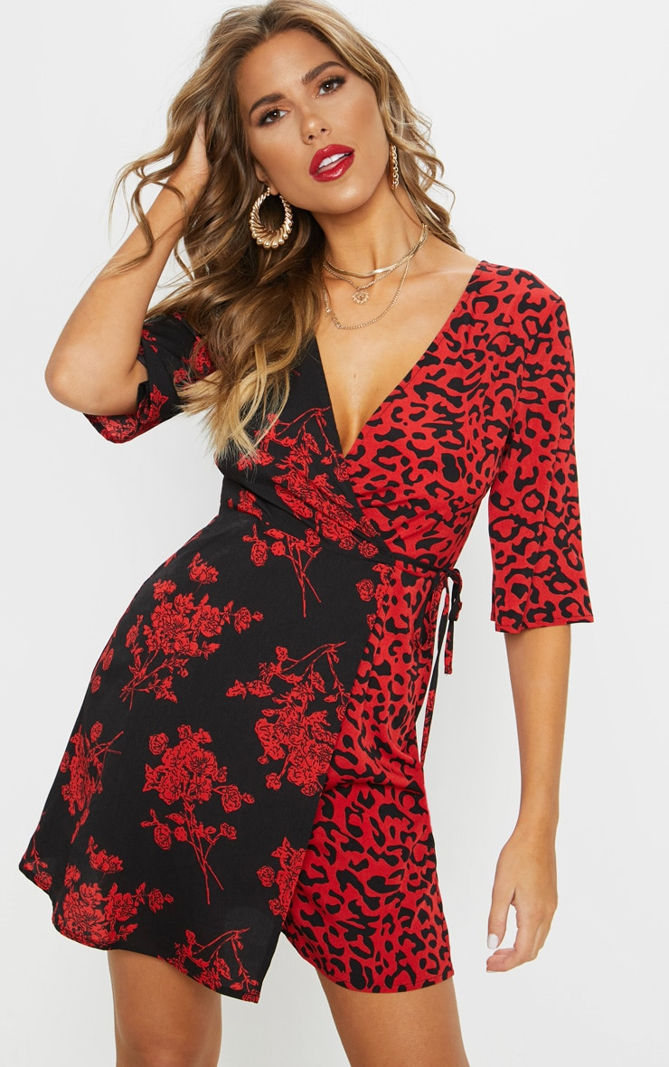 Red V Neck Mixed Print Tea Dress 1