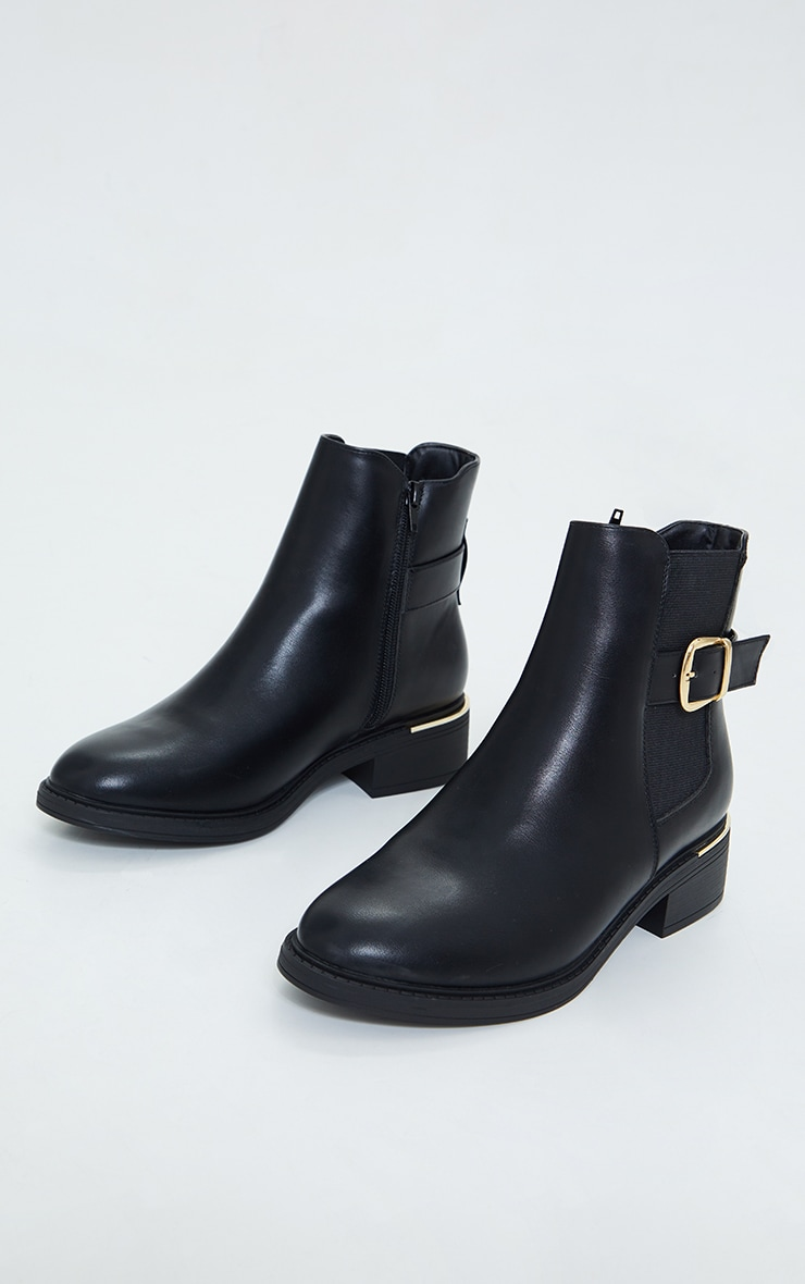 Black Wide Fit Buckle Chelsea Boots 3