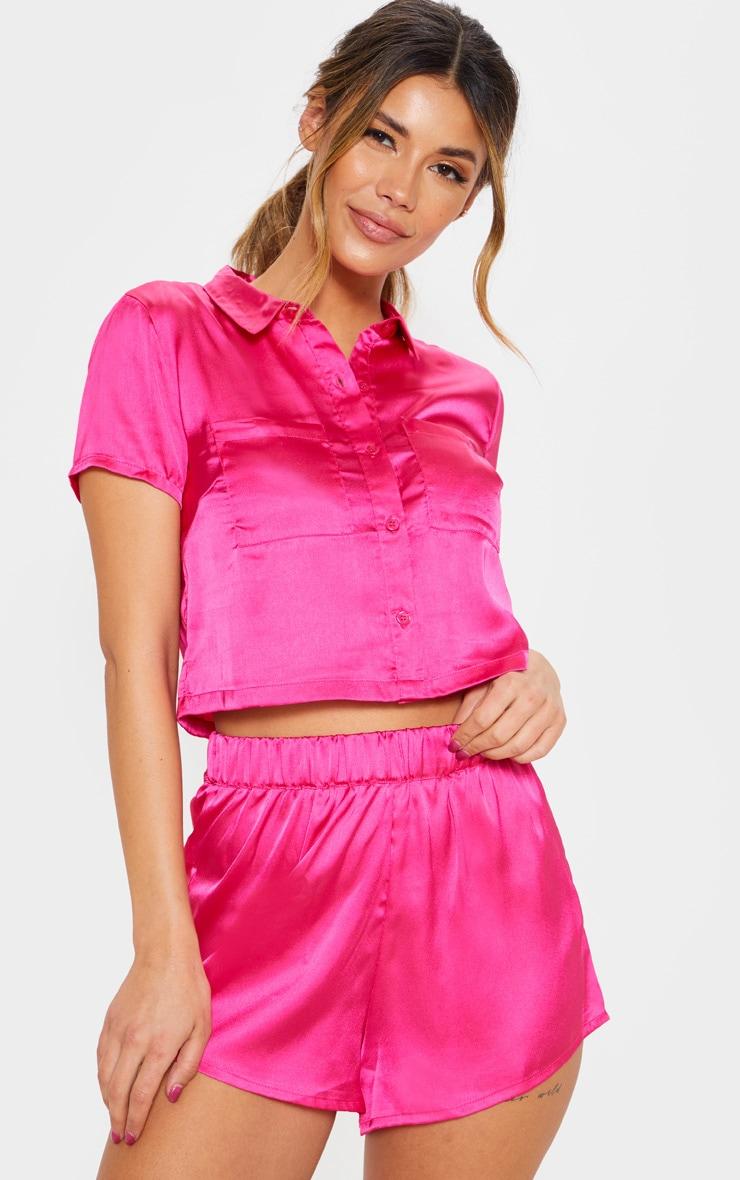 Fuchsia Bow Back Short Pyjama Set  1