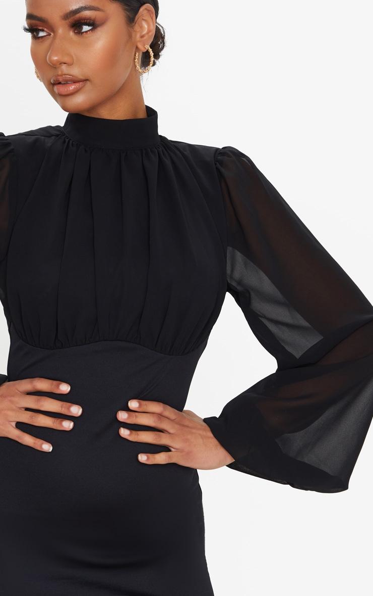 Black Chiffon High Neck Balloon Sleeve Bodycon Dress 4
