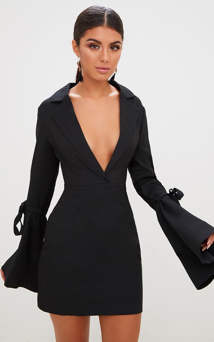 Black Tie Sleeve Blazer Dress 1