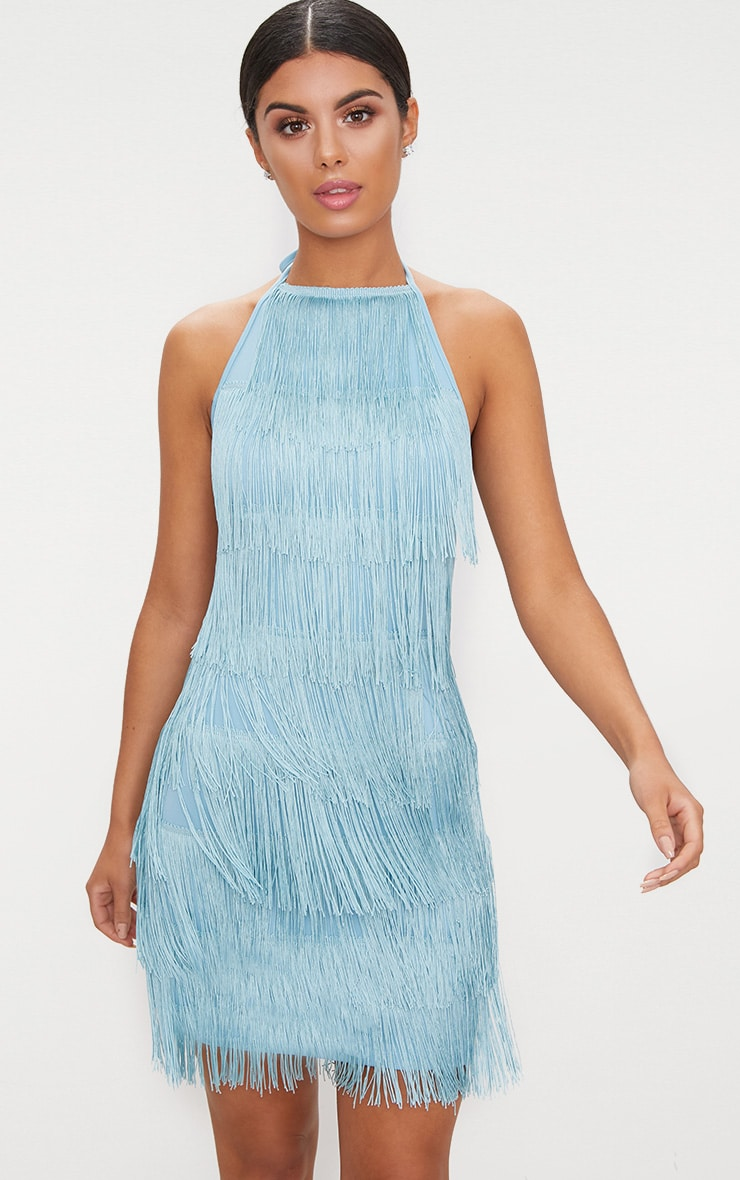 Dusty Blue Tassel Detail Halterneck Bodycon Dress 6