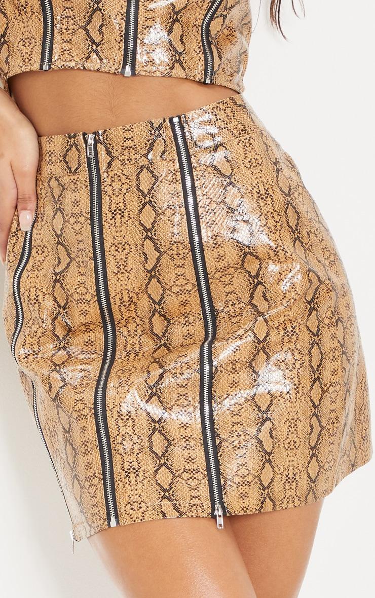 Camel Faux Leather Snake Print Zip Detail Mini Skirt 5