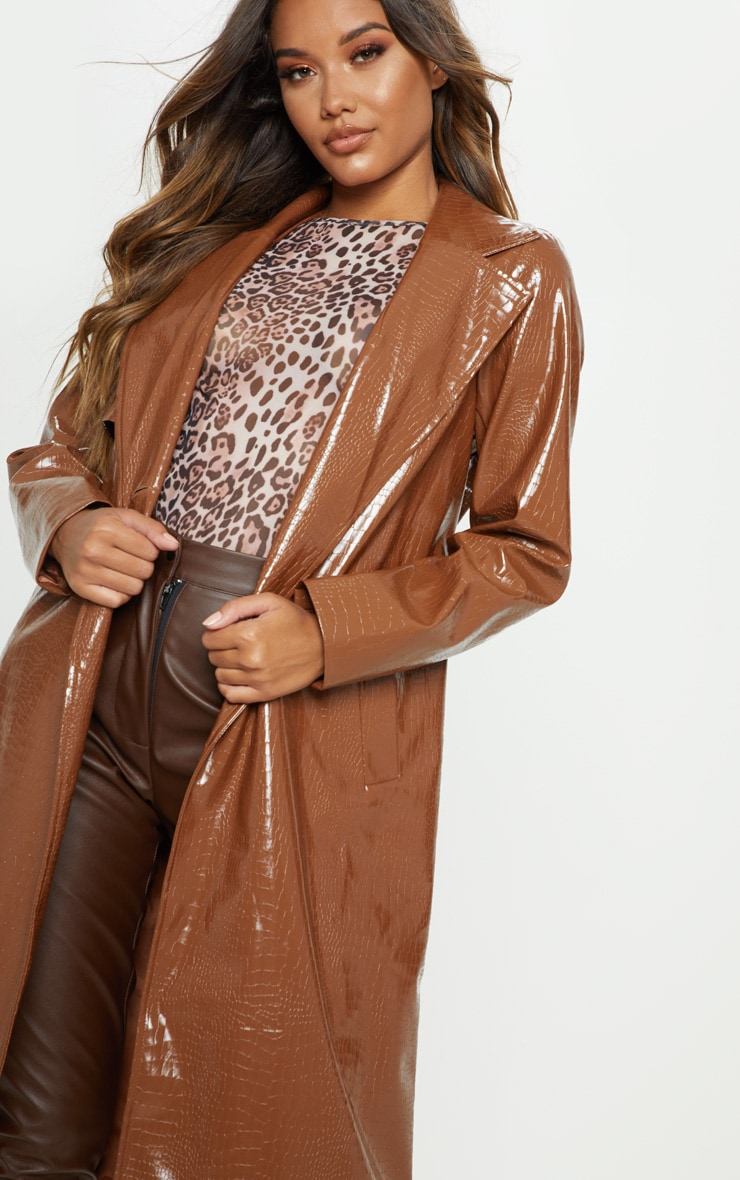 Tan Croc PU Trench 5