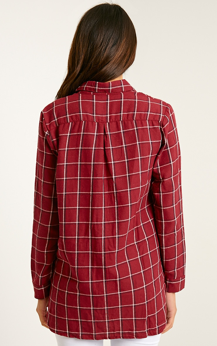 Mariel Wine Checked Shirt 2