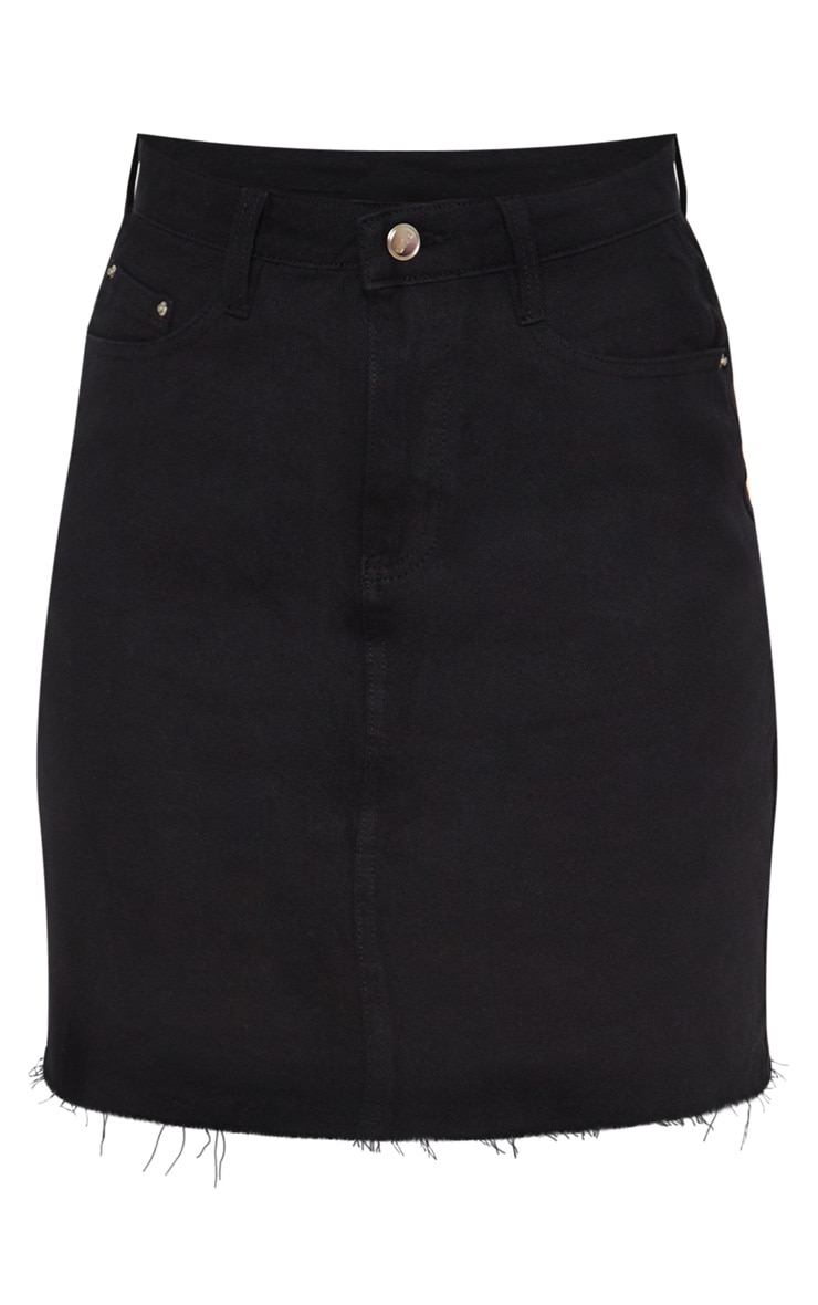 Tall Black High Waisted Denim Skirt 3