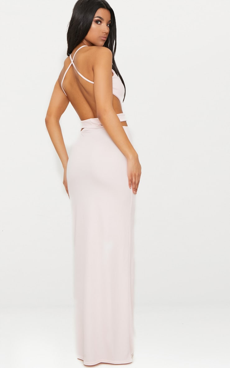 Pale Pink Strappy Cut Out Detail Maxi Dress 2