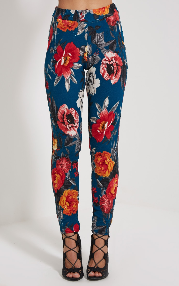 Euphemia Teal Floral Trousers 2